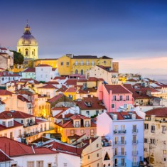 Lisbon, Portugal twilight cityscape at the Alfama District.