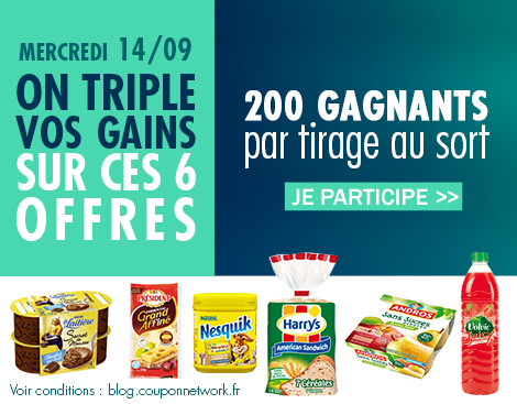 triplement des gains coupon network