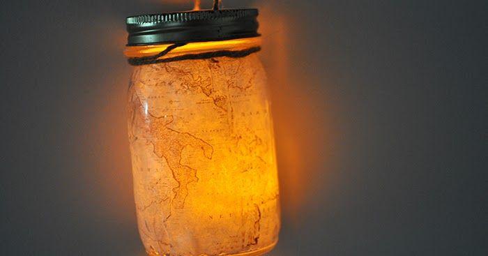 Carte illuminée dans un pot
